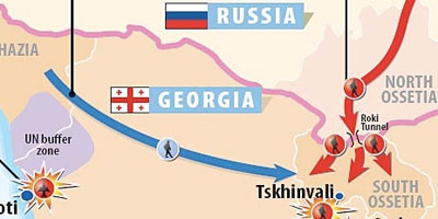 Map and numbers on Georgia-Russia war - Click to enlarge